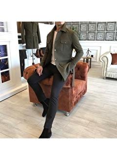 Terzi Adem 3526 İtalyan Stil Slim Fit Mevsimlik Erkek Trençkot Mont Yeşil T4906